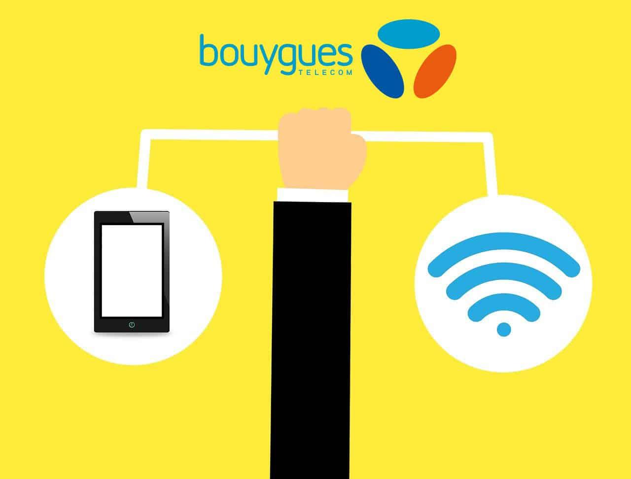 Design motion, représentant une main tenant une tablette et un icône wifi sur fond jaune Bouygues Télécom