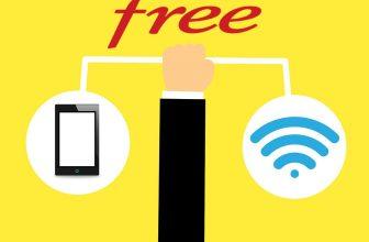 Design motion, représentant une main tenant une tablette et un icône wifi sur fond jaune pour Freebox