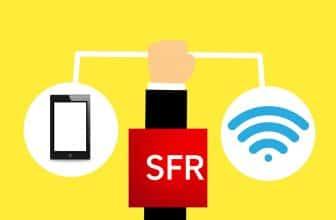 Design motion, représentant une main tenant une tablette et un icône wifi sur fond jaune SFR